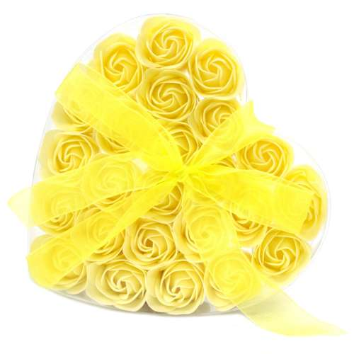 set of 24 soap flowers - yellow roses