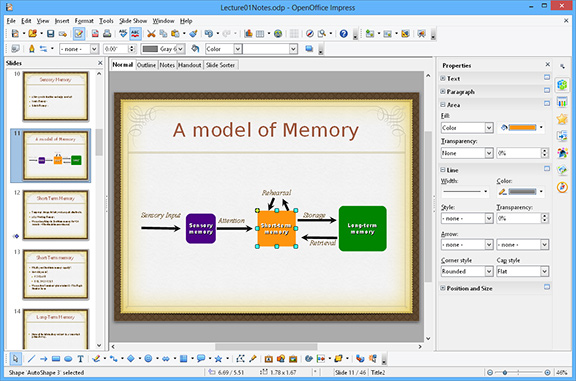 Open Office Impress screenshot, multimedia presentation