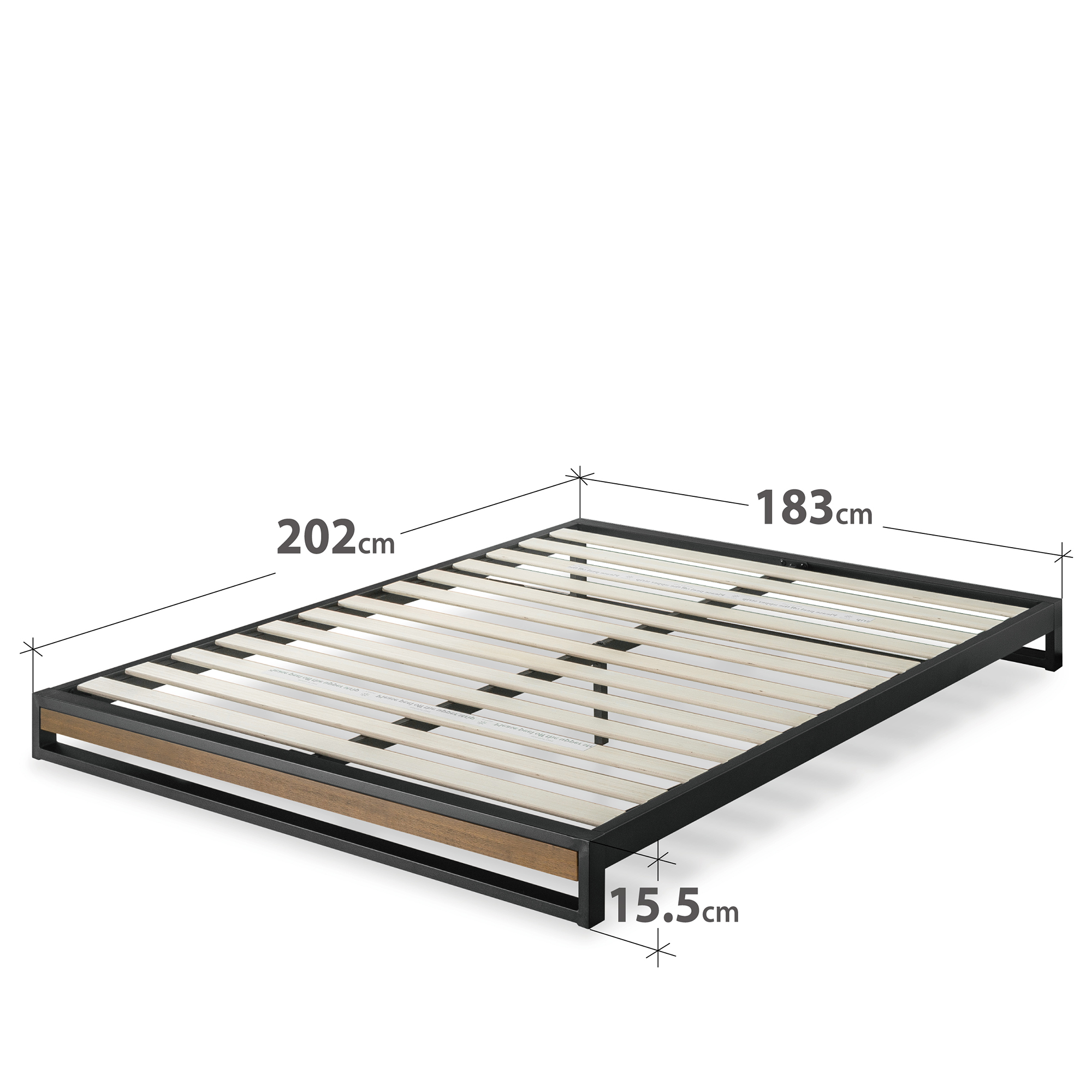Zinus-Industrial-Metal-Wood-Bed-Frame-Single-Double-Queen-King-Low-Base-Mattress thumbnail 19