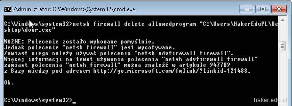 Usuwanie wyjątku zapory Windows Firewall w konsoli command shell.