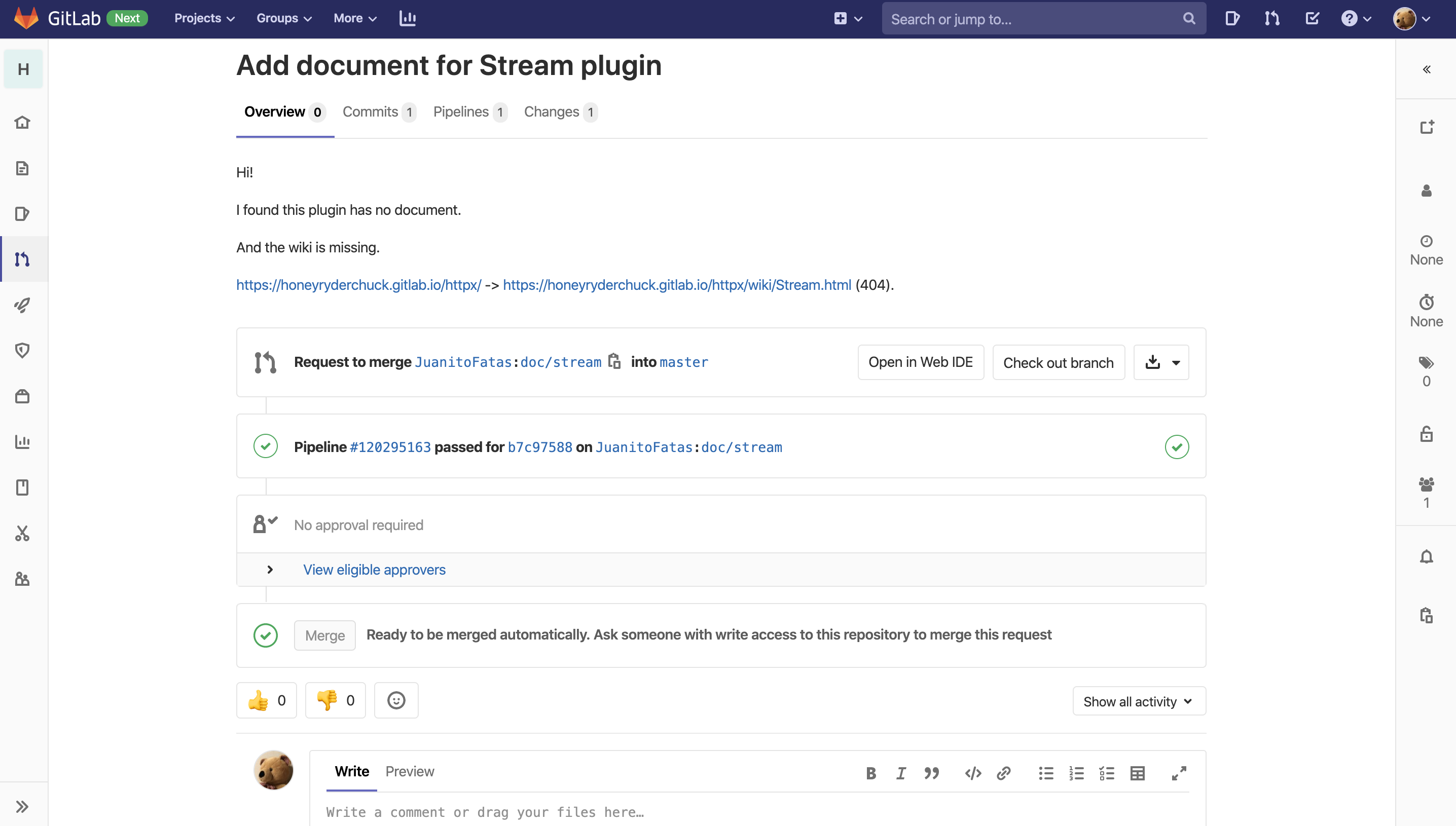 GitLab's MR page with sidebars collapsed