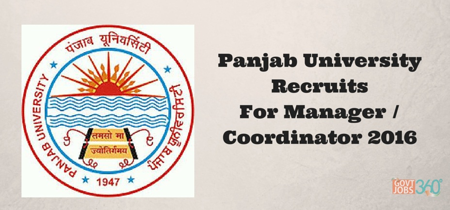 Panjab University jobs for Manager/ Coordinator in Chandigarh