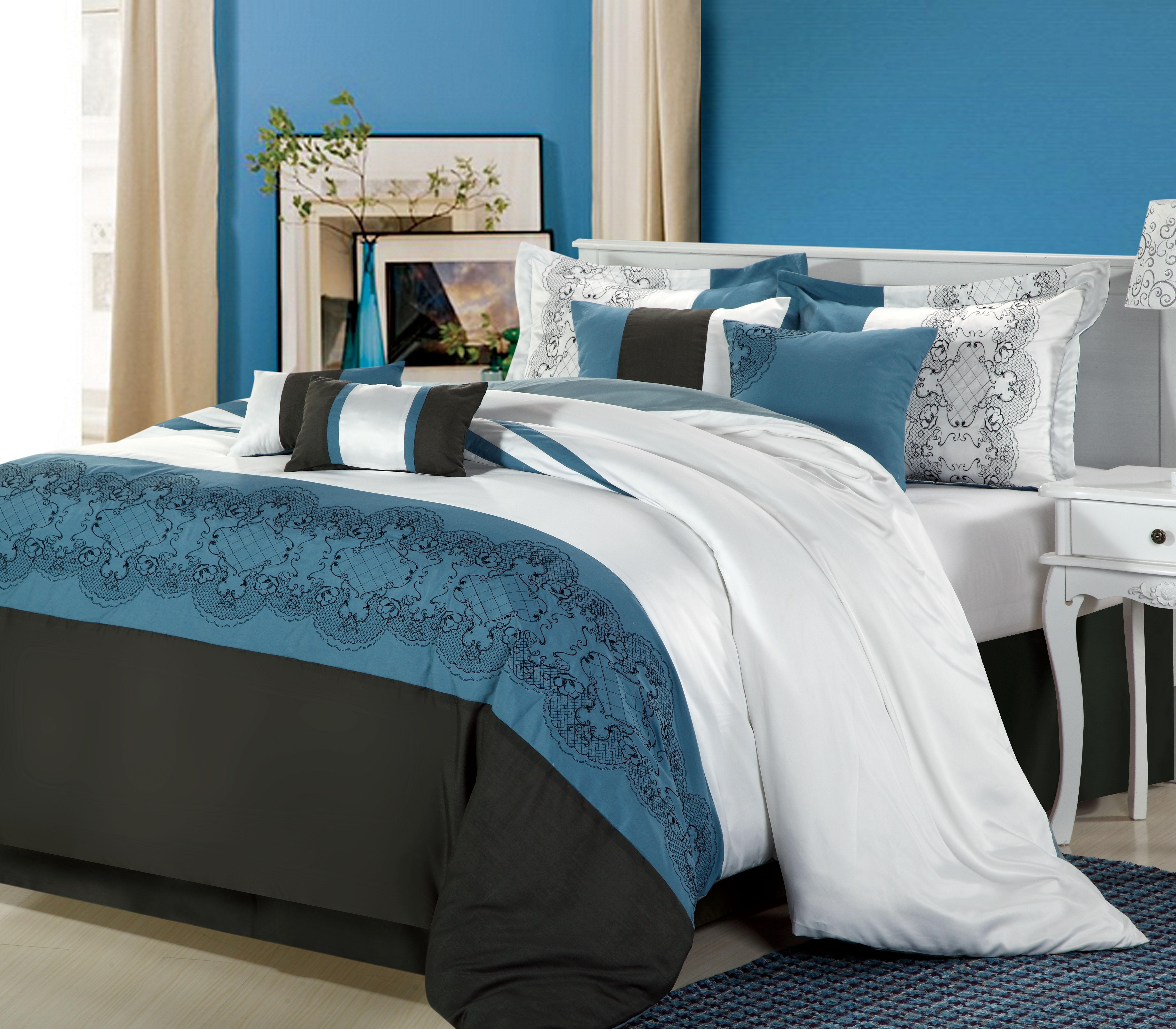 Chic Home Beluga 8-Piece Embroidered Comforter Set, King
