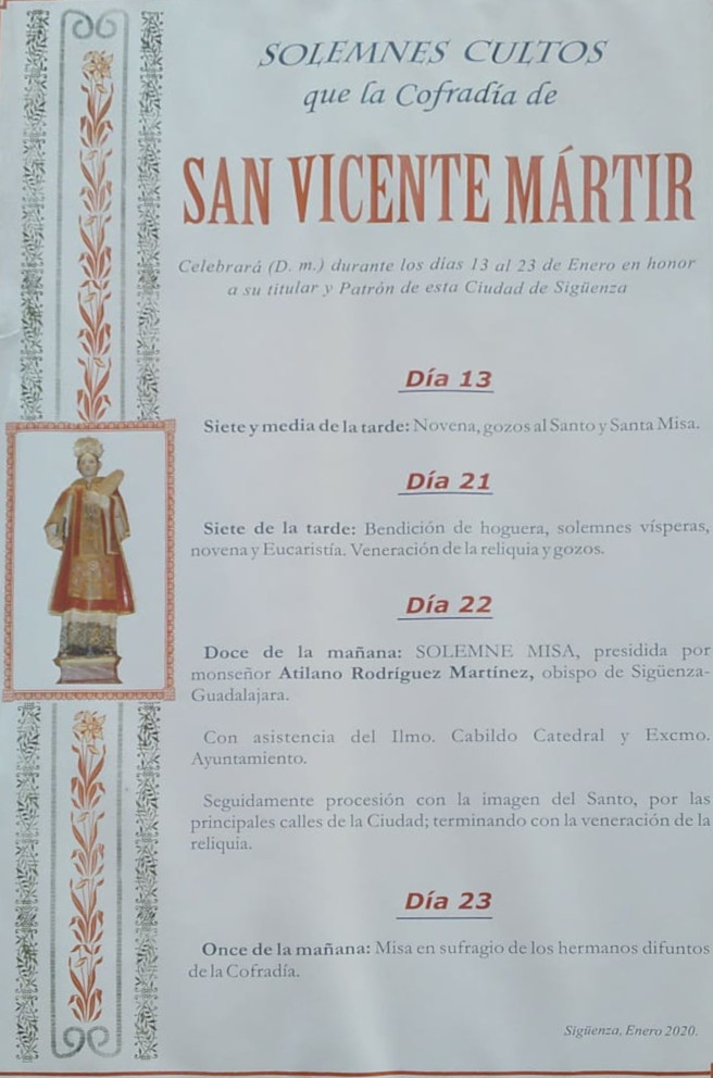 Cartel con los actos en honor de San Vicente