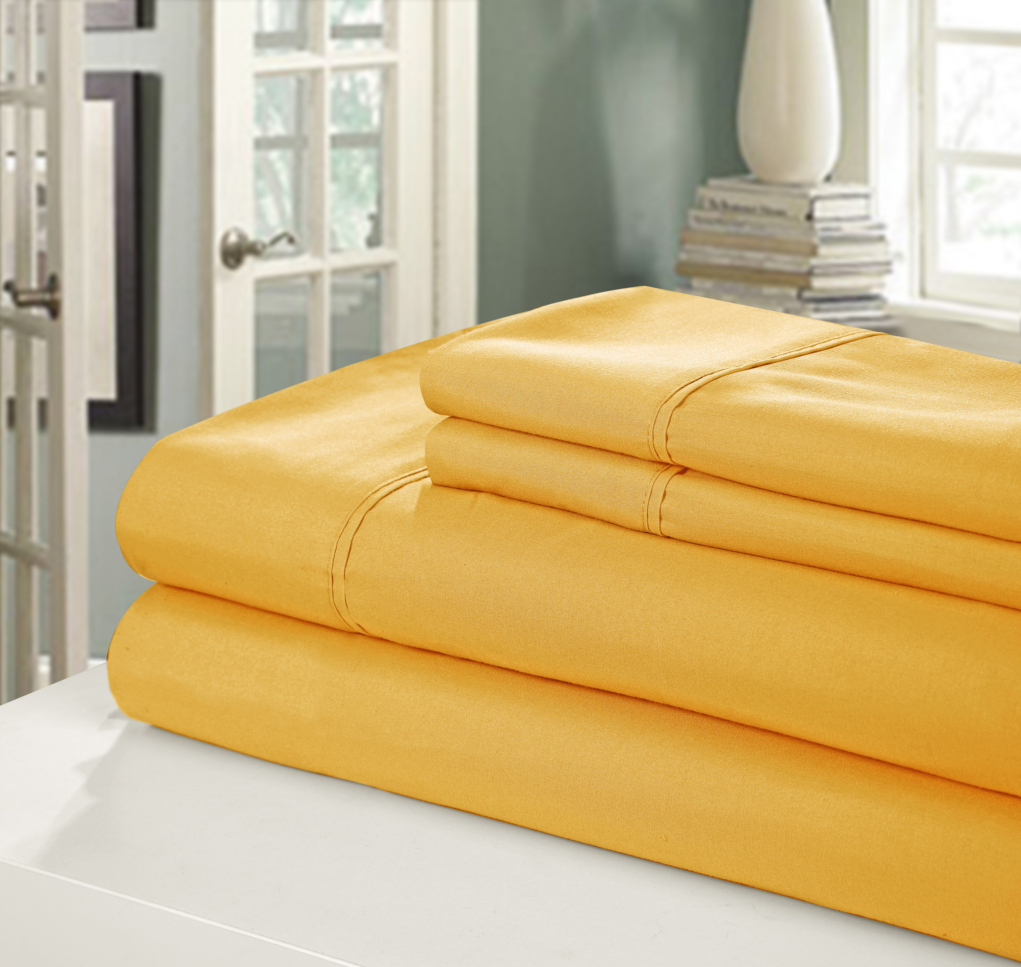 Chic Home NEW!! Chic Home 400 Series Peach Skin Microfiber 4-Piece Sheet Set Ensemble, Queen, Yellow