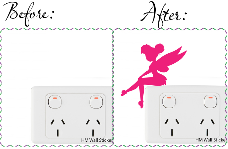 4 Tinkerbell light switch stickers