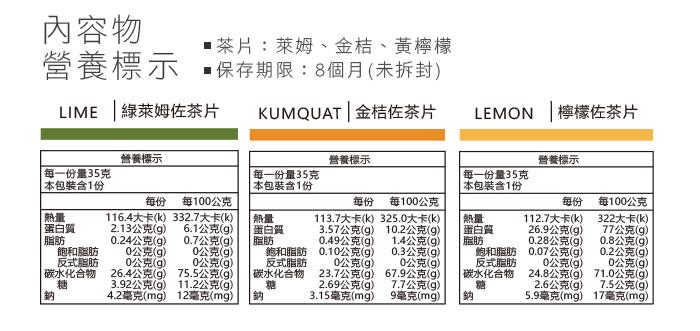 萊姆片、金桔片、黃檸檬片、營養標示
