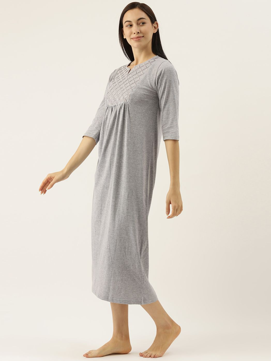 Grey Night Dress with Geometric Embroidery
