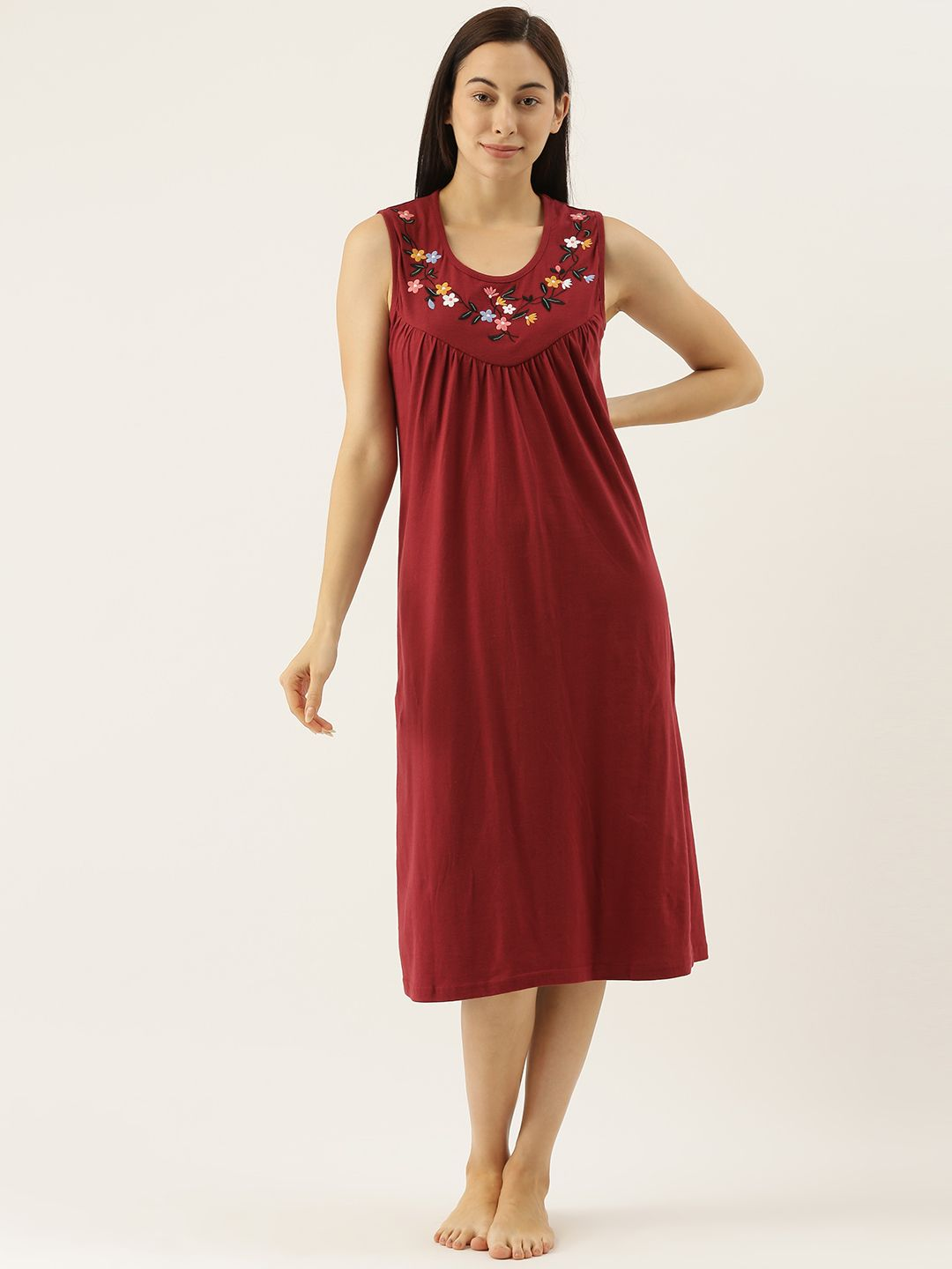 Bordeaux Sleeveless Night Dress with Delicate Flower Embroidery