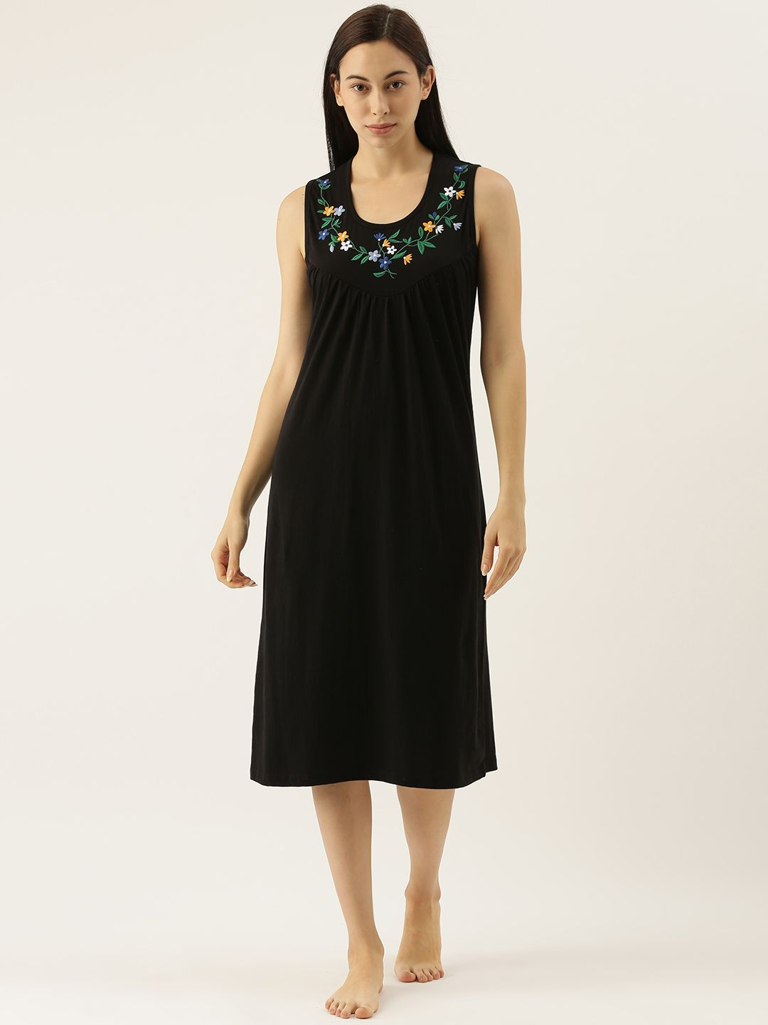 Black Sleeveless Night Dress with Delicate Flower Embroidery