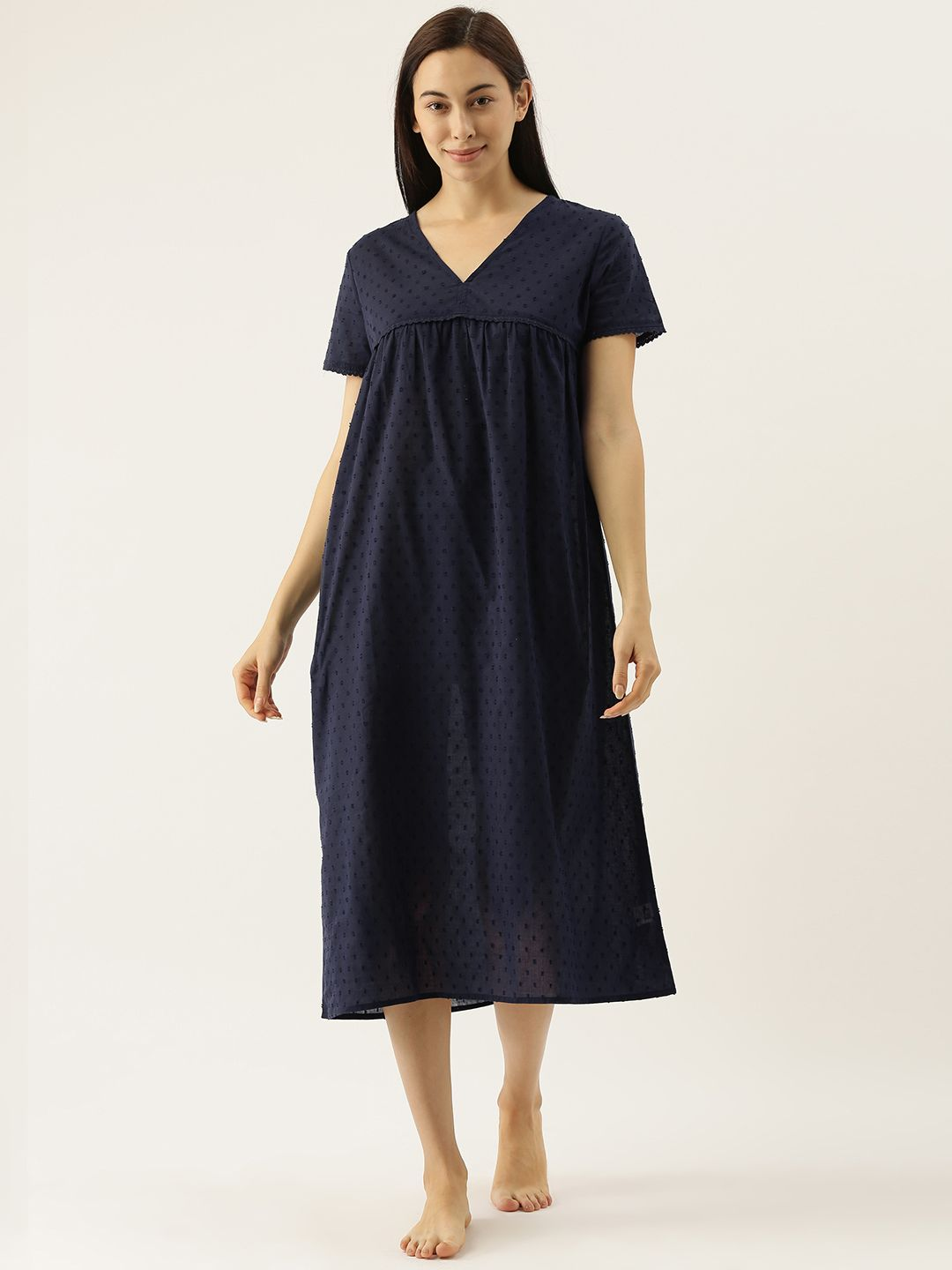 Carron Navy Dobby Self Design Night Dress