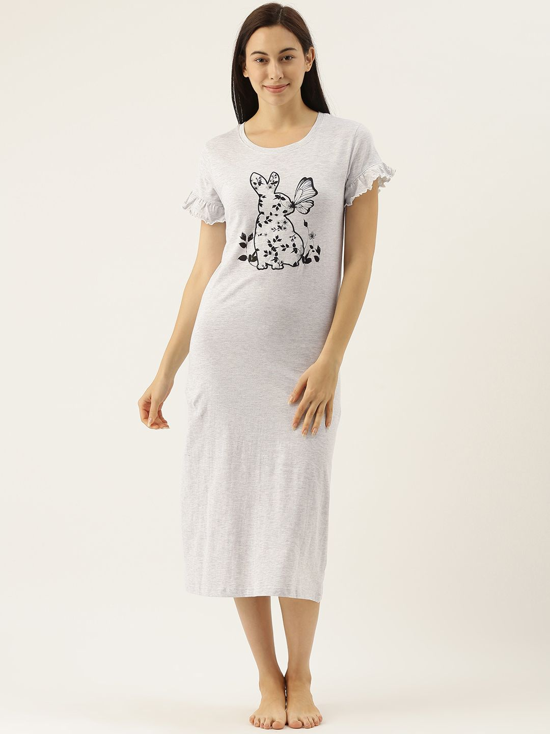 Grey Bunny Applique Night Dress