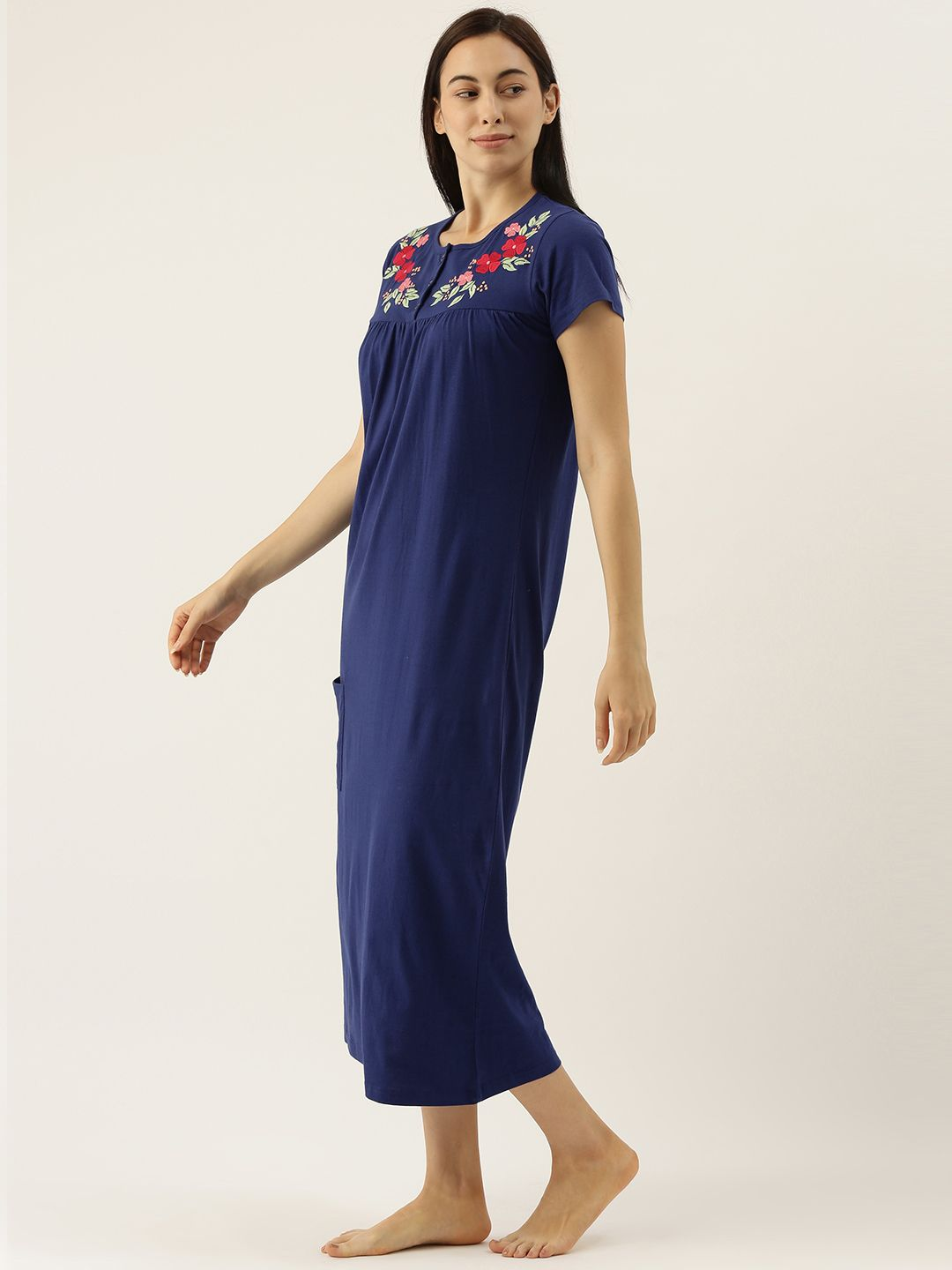 Blue Night Dress with Pretty Flowers Embroidery