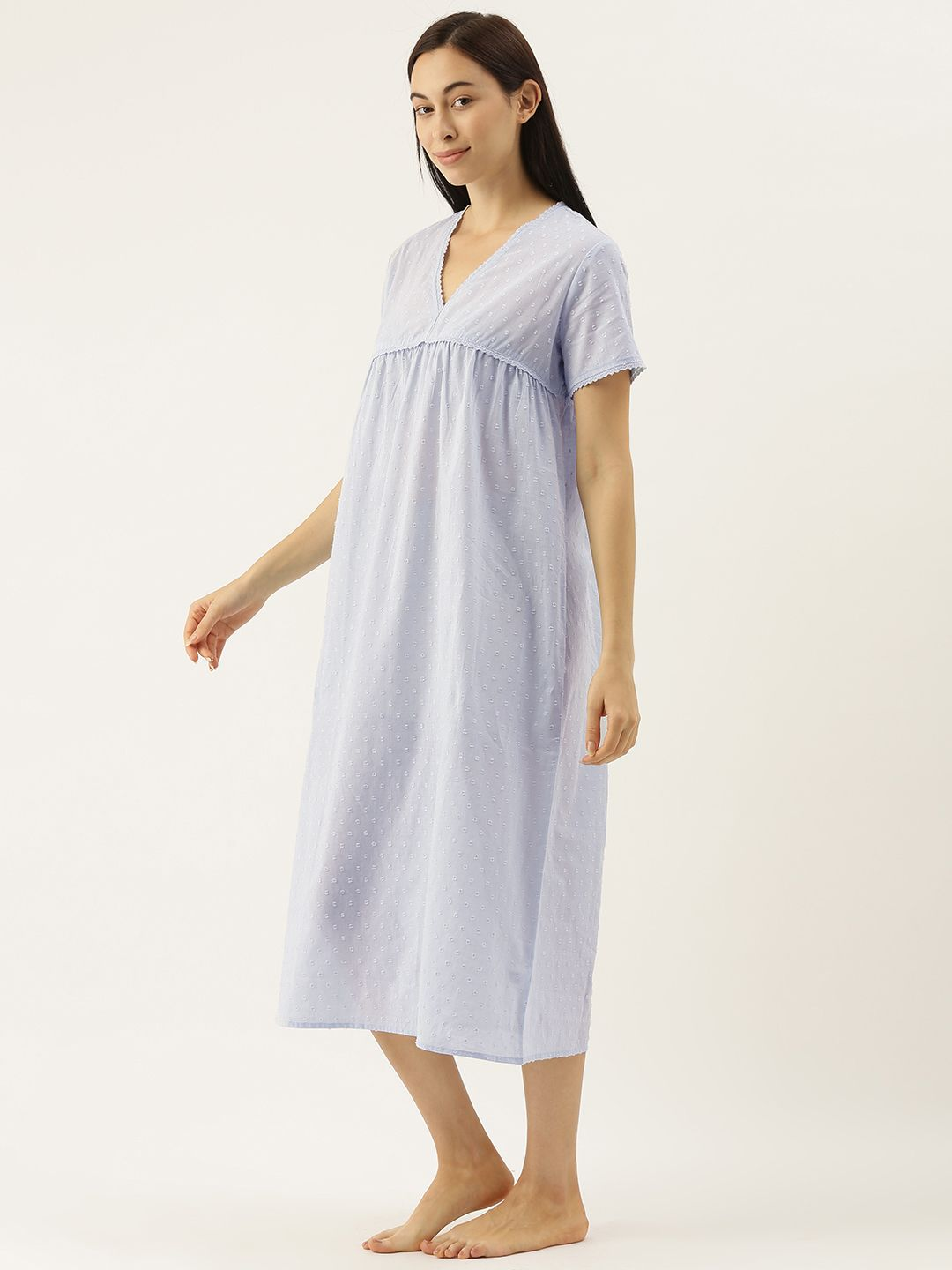 Sky Carron Dobby Self Design Night Dress