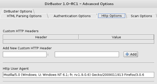 DirBuster User-Agent HTTP