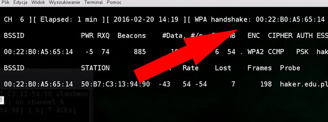 Rezultat wywołania programu aireplay-ng spowodował pojawienie się handshake w airdumpie
