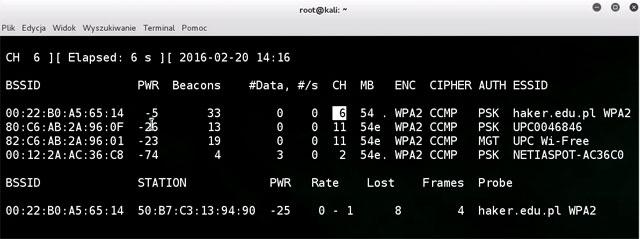 airdump-ng wywołanie programu kartą wifi pod usb w systemie Kali Linux