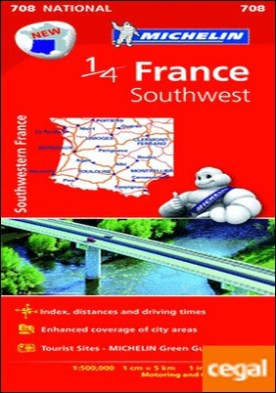 Mapa National France Southwest . 1:500.000; 1cm=5km; 1in:7.9 miles