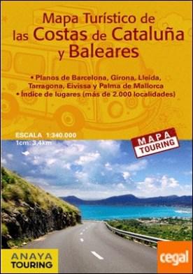 Mapa turístico de las Costas de Cataluña y Baleares (desplegable), escala 1:340.000
