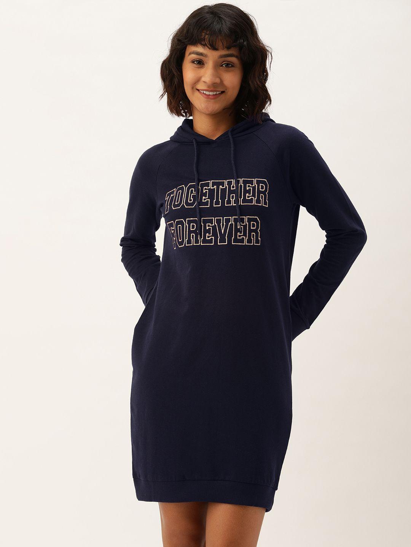 Slumber Jill Navy Together Forever Hoodie Dress