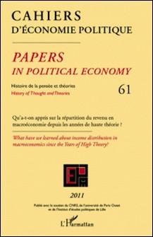 Cahiers d'économie politique N° 61-L'Harmattan