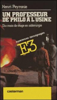 Un Professeur de philo à l'usine - Dix mois de stage en sidérurgie-Henri Peyronie