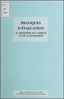 Pratiques d'évaluation au Ministère de l'emploi et de la solidarité - Actes du séminaire tenu en 1996 à l'Inspection générale des affaires sociales-Collectif