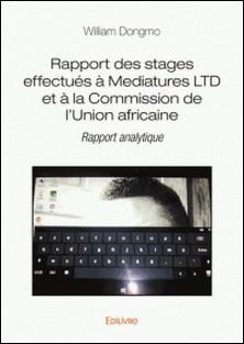 Rapport des stages effectués à Mediatures LTD et à la Commission de l'Union africaine - Rapport analytique-William Dongmo