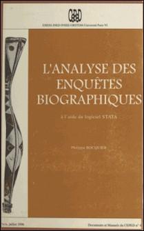 L'Analyse des enquêtes biographiques à l'aide du logiciel STATA-Philippe Bocquier