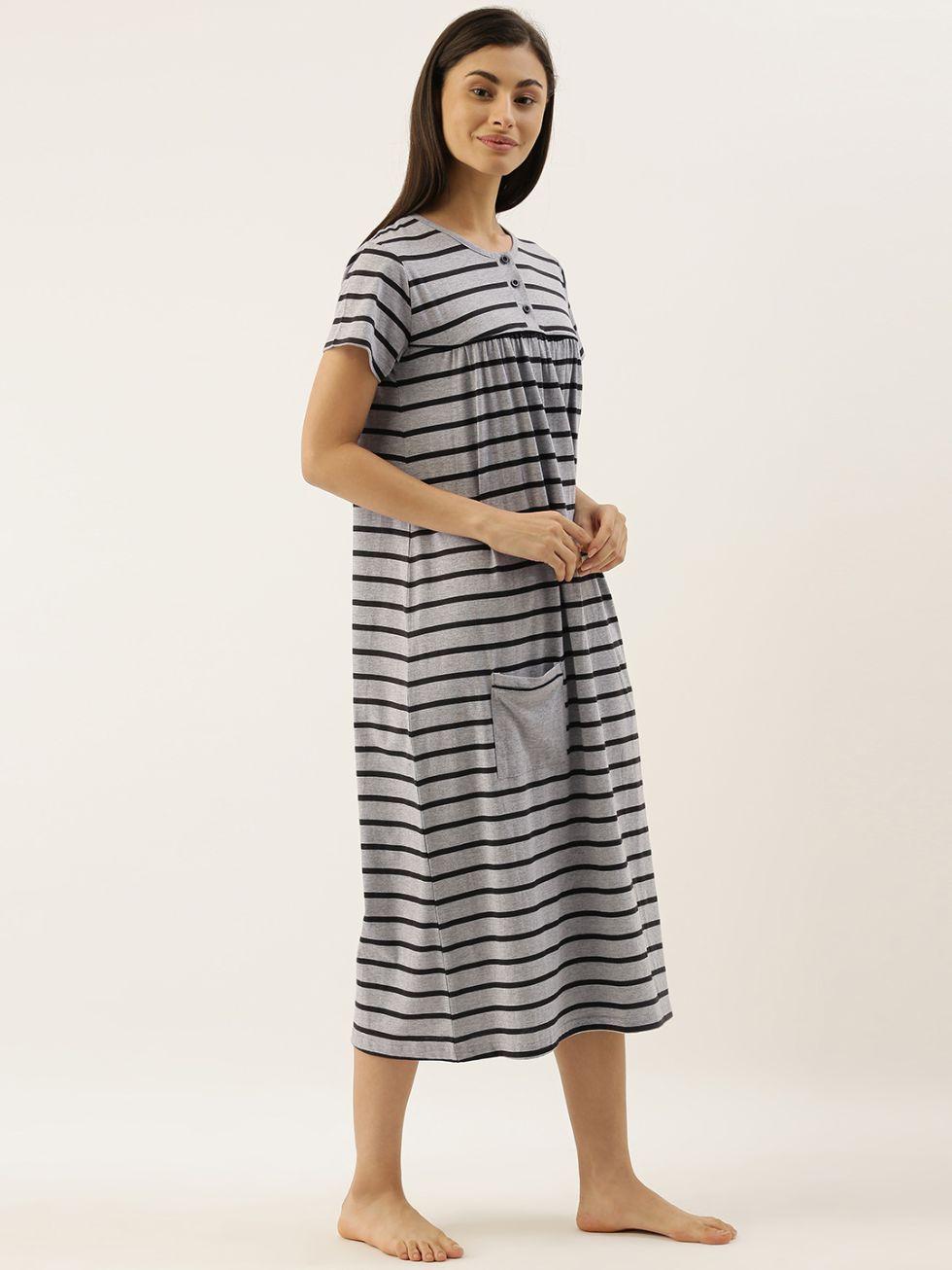 Slumber Jill Grey Stripes Night Dress