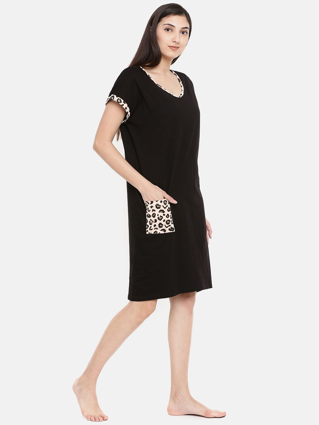 Slumber Jill Black with Leopard Print Trims Loose Fit Sleepshirt