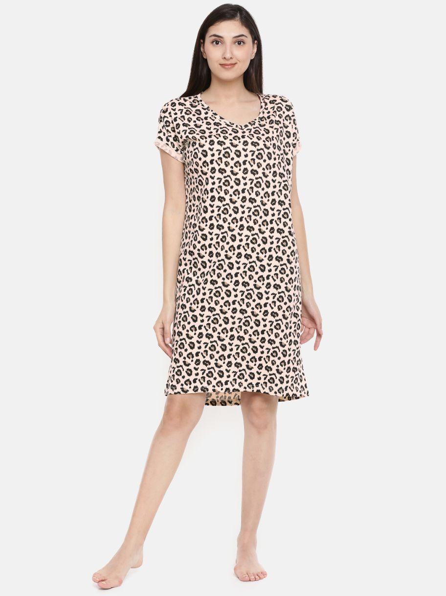 Slumber Jill Leopard Print Loose Fit Sleepshirt