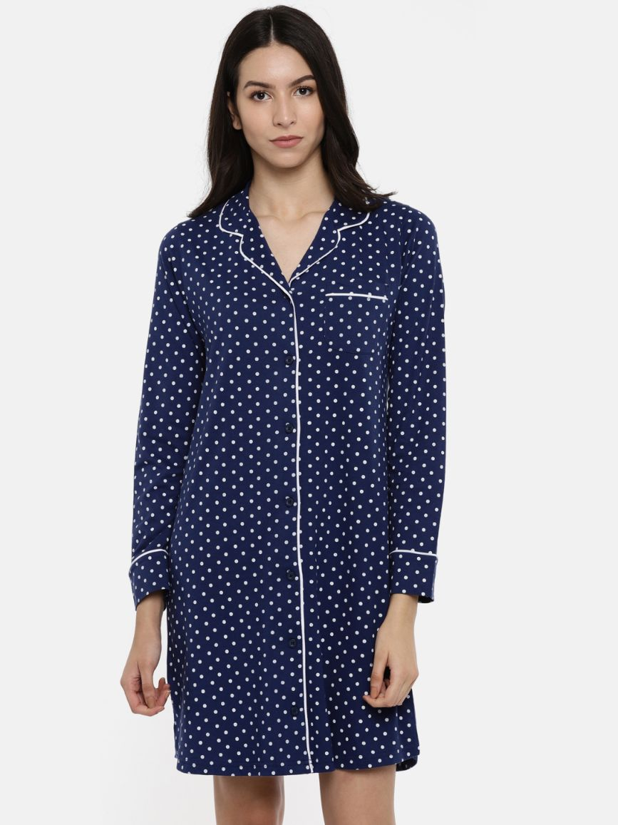 Slumber Jill Navy Polka AOP Sleepshirt