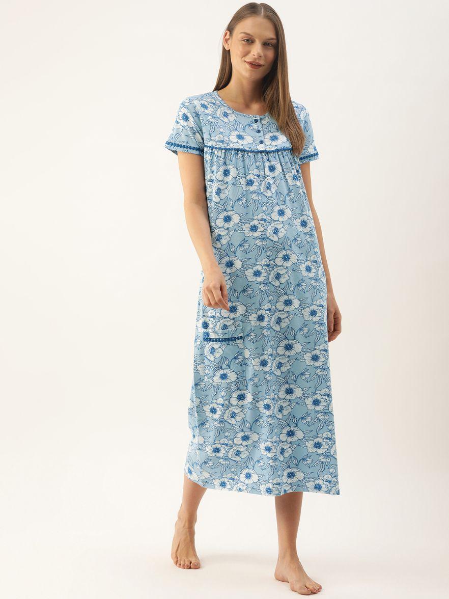 Slumber Jill Blue Flower AOP Night Dress