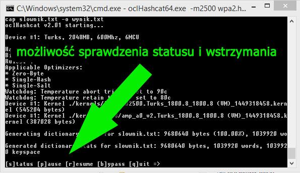Status łamania w programie oclHashcat na karcie Radeon AMD i procesorze Intel i7
